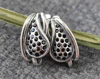 Leverback Earrings Findings Rhinestone, Leverback Earrings Rhinestone, Leverback Earrings Brass 925 Sterling Silver Plated, Oxidized