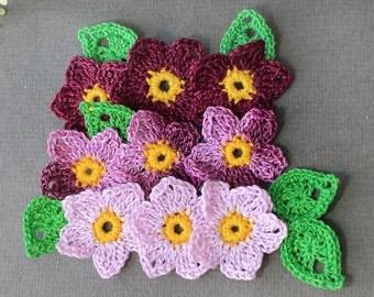 Crochet Flowers Applique, Crochet Applique Flowers 16 pcs, Crocheted Flowers, Flowers Crochet, Crochet Applique, Handmade Applique Flowers