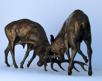 Bronze sculpture of Elk Duel