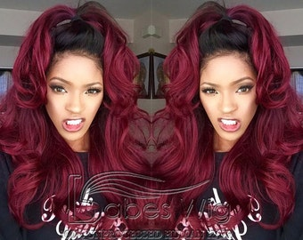 Ombre 1B/Burgundy real human hair lace front wigs for charming women high ponytail