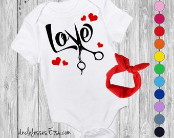 Love - Cute Baby One Piece For Hairstylist, Beautician, Barber, Esthetician, Hair Dresser