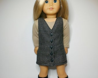Button front wool and silk blend houndstooth jumper and tan scoop neck top for 18inch dolls such as American Girl and My Imagination