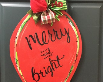 Merry and Bright Light Bulb Wooden Door Hanger