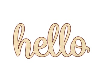 "Hello Sign - Hello Wood Sign - Hello Script Wood Sign - Wooden Hello Sign - Cursive Hello - Wood Greeting - 12""-18"" - 180120"