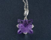 Fantasy Amethyst Pendant in Filigree Setting with Sterling Silver Chain