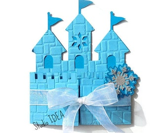 12 Frozen Castle Invitation-Mixed Blue Card with Snowflake embellishment & Ribbon - or CHOOSE YOUR COLORS -Set of 12