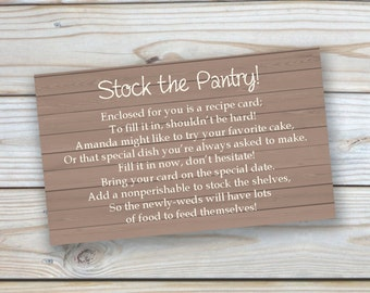 "Printable Customized ""Stock the Pantry"" Bridal Shower Insert-3x5 size"