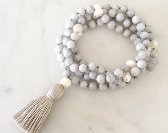 Dream Mala (grey)- mala beads, mala necklace, tassel necklace, mala, mala beads necklace, tassel necklaces, beaded necklace, mala beads 108