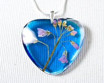 Real flowers resin pendant - Sterling silver necklace with pressed flowers in blue, clear resin