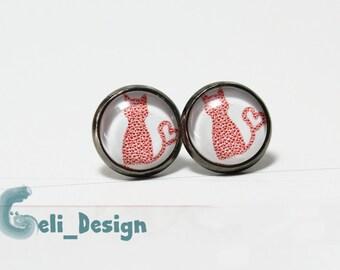 Earrings cabochon cat red heart