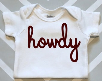Texas A&M Howdy Baby Onesie - Great Aggie Baby Shower Gift!