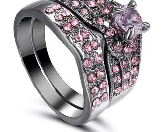 Pink/gunmetal wedding ring set