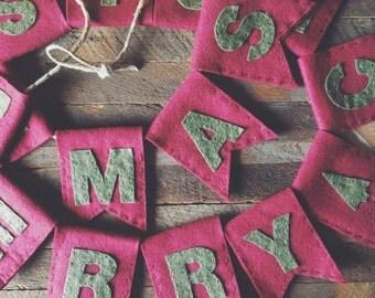 MERRY CHRISTMAS Wool Felt Banner