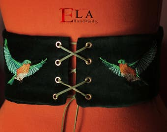 Dark green birds embroidery corset belt