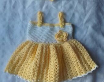 Baby girl dress, crochet dress,girl dress, baby dress 0-6 month's, newborn dress, crochet girl dress, girl headband ,ready to ship