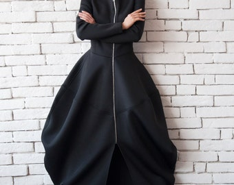 Black Neoprene Dress/Extravagant Long Coat/Asymmetric Maxi Dress/Victorian Style Dress/Long Sleeve Black Dress/Long Zipper Tunic/Maxi Coat