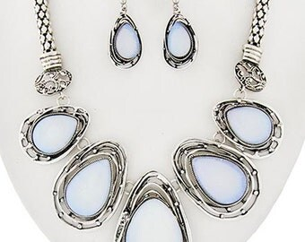 Fitbit Necklace and Earrings Set for Fitbit Flex or Flex 2 Fitness Trackers -The SERENA Pearlescent Moonstone Fitbit Jewelry Set -Ships FREE