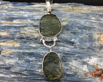 Moldavite Pendant // 925 Sterling Silver // Dangly 2 Stone Setting // Green Moldavite Pendant