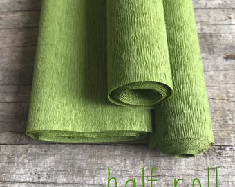 Musk Green - 60g Italian Crepe Paper - HALF ROLL