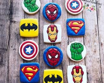 Superhero Cookies, Batman Cookies, Superman Cookies, Captain America Cookies