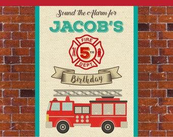 DIGITAL Fire engine party Backdrop, Fire station Backdrop, Fire engine Birthday Backdrop, Fire engine Party Decor, Fire engine printable