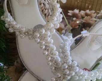 White Pearl Beaded Rhinestone Bridal/Beach Wedding Sandals