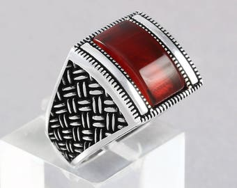 Eastern Style Handmade Statement Men's Ring 925 Sterling Silver with Agate Stone