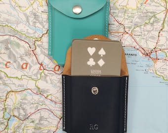 Personalised Leather Playing Card Case With Playing Cards