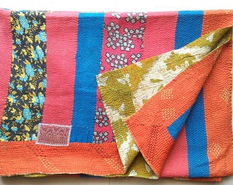 Sale!! Usd 30 off!! Collectors item!! Vintage Cotton kantha quilt /India/ throw/ blanket/ coverlet/ Sari quilt/ Gudri/ bedding decor/ rug!