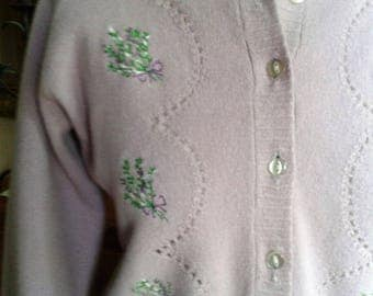 Original Vintage 1950s Lilac Colour Embroidered Ladies Cardigan