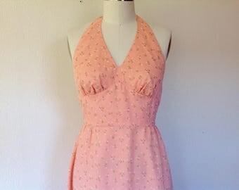 1970s Peach flocked cotton maxi dress