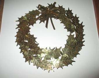 Vintage Lord and Taylor Brass Christmas Holly Wreath, Hong Kong, 1950's