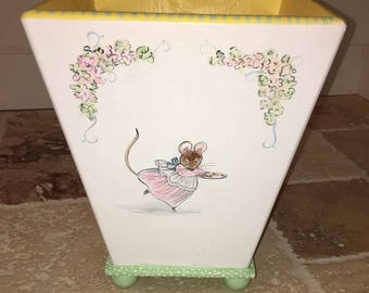 waste basket, hand painted waste basket, painted trash cans