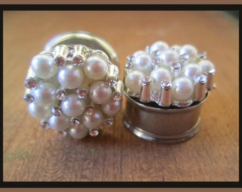 "Pearl Rhinestone Bash Wedding EAR TUNNEL PLUG Earrings you pick gauge size 7/16"", 1/2"", 9/16"", 5/8"", 11/16"", 13/16"" aka 12, 14, 16, 18, 20mm"