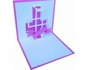 Pop up Easter Cross Card , Believe , PaperCut , 3D , Pink , God , Faith , Church Friends , Family