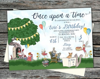 Personalised Storybook Birthday party Invite, Reading books, Enchanted, magical fairy folk invitation, woodland animals, garden forest, tree