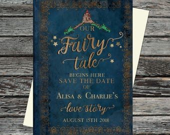 PersonalisedOnce Upon a Time, Fairy Tale, Printable Wedding Invitation set, Bespoke Book Invites, Roses, Castle, Enchanted, Love Story, Gold