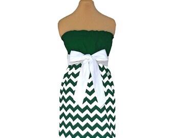 Green + White Chevron Game Day Dress
