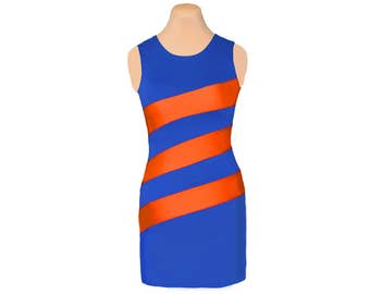 Orange + Blue Diagonal Stripe Dress
