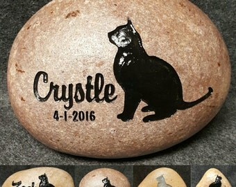 """SITTING Kitty CAT MEMORIAL Stone sizes 8"""" or 6"""" (approx size)  Engraved Personalized with Name and option to add Date"""