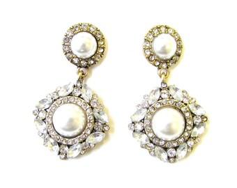 Bronze White Silver Diamante Pearl Drop Earrings Bridal 1920s 1930 Art Deco 1906