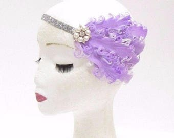 Lilac Light Purple Silver White Feather Headband 1920s Flapper Headpiece 2801