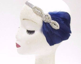 Navy Blue Silver Feather Headband 1920s Flapper Vtg Headpiece Great Gatsby 2826