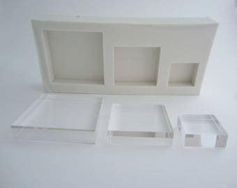 Silicone mold  3 squares differrent sizes resin,plaster, wax, concrete,... moldings