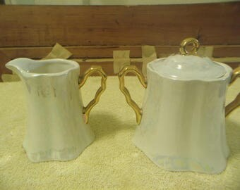 Mother of Pearl Creamer & Sugar set with Gold Trim