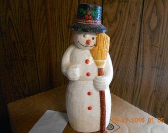 Wood Snowman Figurine