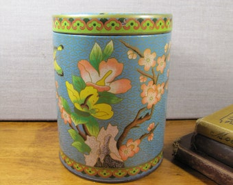 Vintage Decorative Tin - Light Blue Background - Pink Cherry Blossoms - Butterflies - Made in England