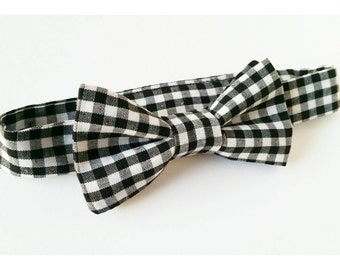 Pre-Tied Black and White Gingham Bow Tie