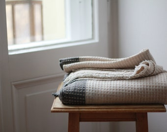 Large handwoven 100% Cashmere blanket