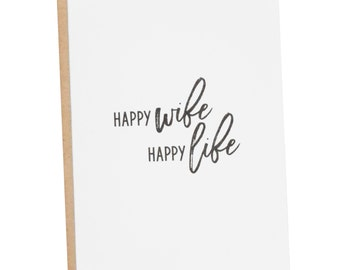 Happy Wife Happy Life | Wife Card | Mom Card | Card for Her